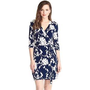 Floral Knee Length Wrap Dress